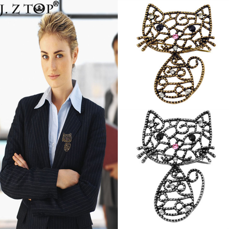 bf3a3fb9459 Fashion Women Rhinestone Brooch Pin Hollow Retro Cat Brooches Corsage Lapel  Pins For Ladies Jewelry Accessores spille da donna