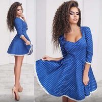 Womens Dresses New Arrival 2017 Summer Lace Bodycon Polka Dot Party Dresses Casual Sexy Elegant Midi