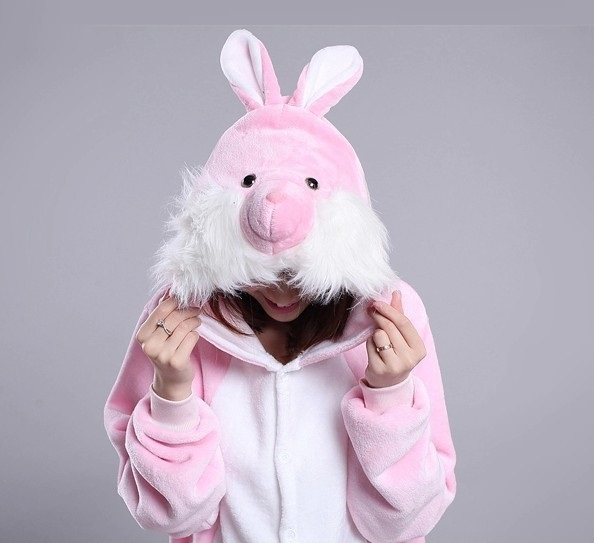 Kigurumi Rabbit Cute Cartoon Animal Hooded Long Sleeve Pink Rabbit Onesie Adult Winter One-piece animal pajamas Rabbit