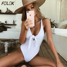 White Solid One Piece Swimsuit 2019 New Sexy Swinwear Women High Cut Monokini Push Up Bathing Suit Bandage Beach Wear  - buy with discount