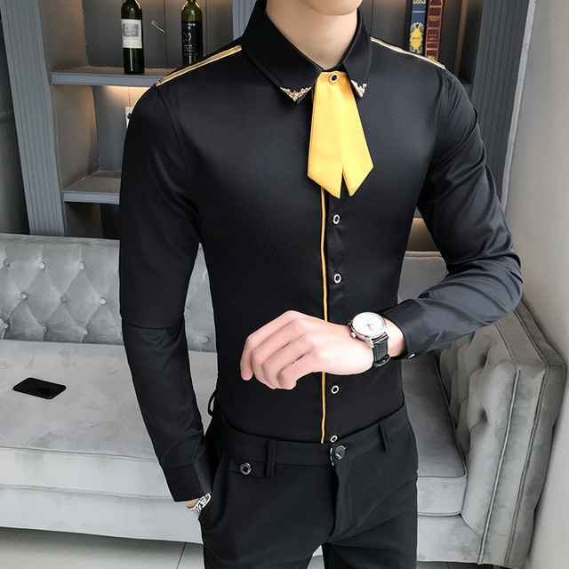 Heren Shirt Lange Mouw Gold Tie Men Dress Shirt Long Sleeve Black