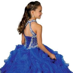 Image 4 - Halter fancy little girls spettacolo del vestito lungo abiti di sfera per i bambini lungo del vestito da promenade vestido menina principessa delle ragazze del vestito 2  12 anni