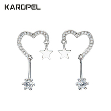 Micro Pave Zircon Heart Stud Earrings Cubic Zirconia Five-Pointed Star For Women Luxury Party Gifts