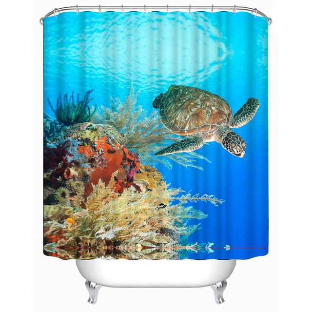 Beautiful Bule Sea Turtle Bathroom Shower Curtain 180x180cm Bath Waterproof Polyester