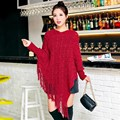 New Autumn Mesh Women Sweater Fashion V Neck Batwing Sleeve Poncho Irregular Tassel Hem Knitted Cloak Pullover Casual Shawl Tops