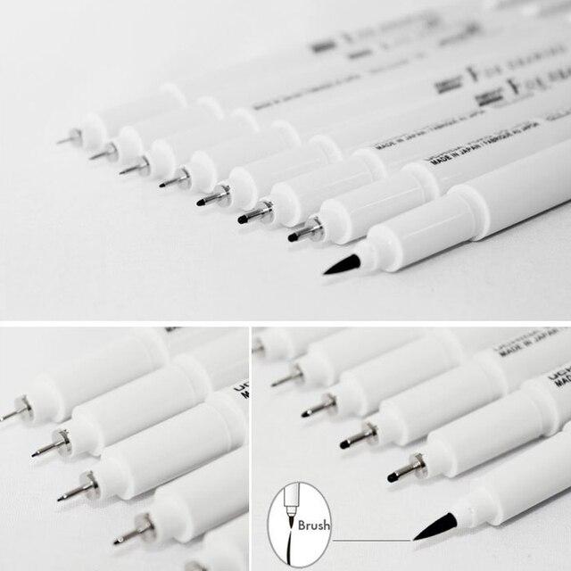 Marvy Sketch Liner Brush 0.03mm/0.05mm/0.1mm/0.3/0.5/0.8/1.0mm Water Resistant Gundam Drawing Pen Design Comic Painting Supplies
