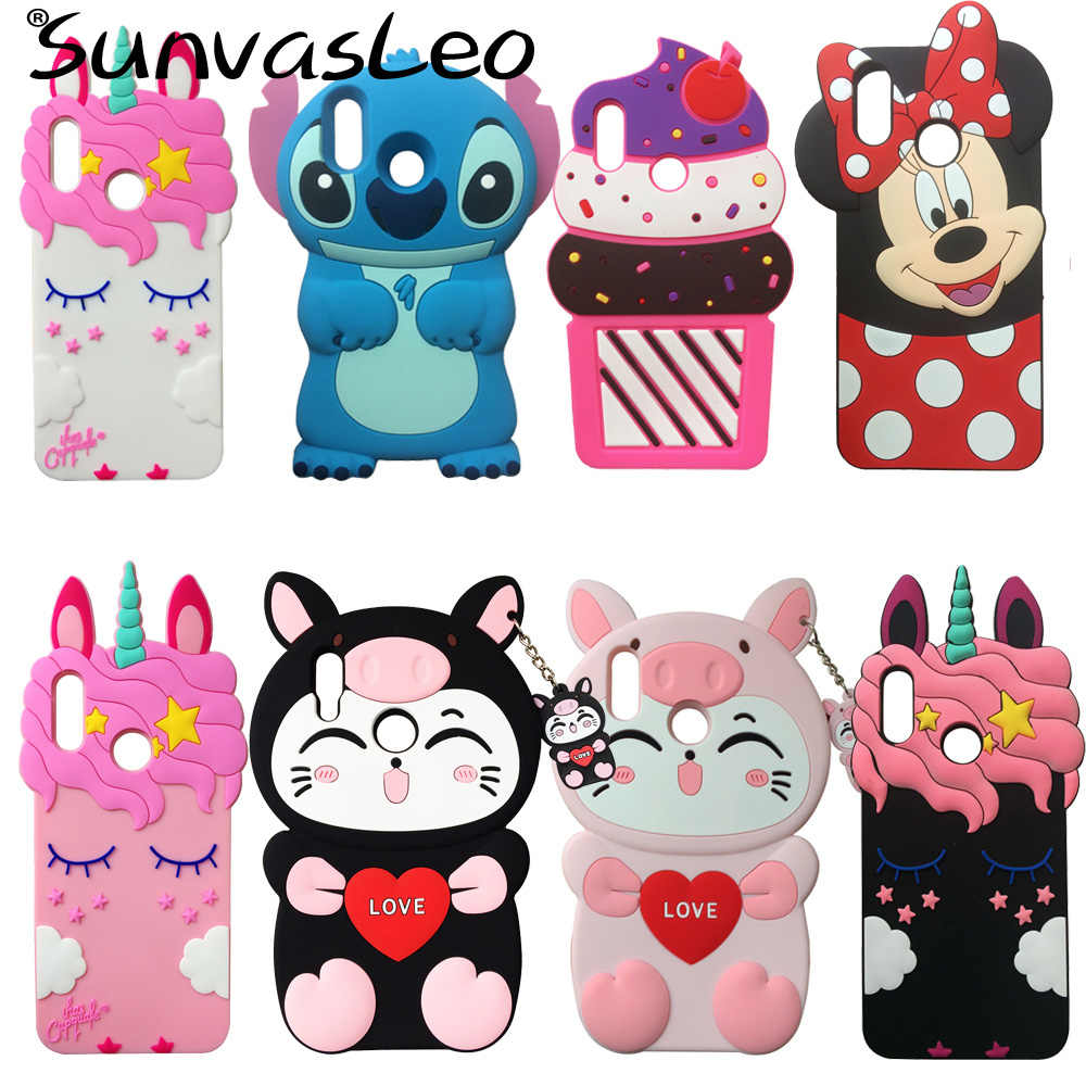 For Huawei P Smart 2019 / Honor 10 Lite 3D Cartoon Soft Silicone Case Mobile Phone Back Cover Skin Shell Protector Fundas Coque
