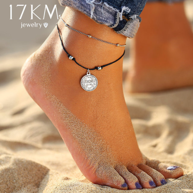 17KM Vintage Multi Layer Coin Anklets For Women Fashion Handmade Beads Chain Link Anklet Bracelets Summer Foot Jewelry Gifts