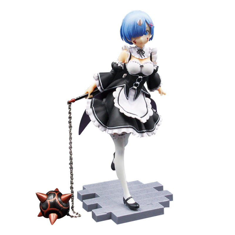 Re:Life in a different world from Zero Rem Action Figure 1/8 scale painted figure Servant Girl Ver. Rem PVC figure Toy Anime re life in a different world from zero maid ram with mop on the floor pvc figure collectible model toy 22cm kt4218