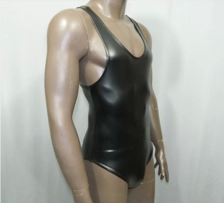 Synthetic Latex Catsuit Men T shirt Body Suits New Stretch Black Sleeveless Club Wear Bodies Mens