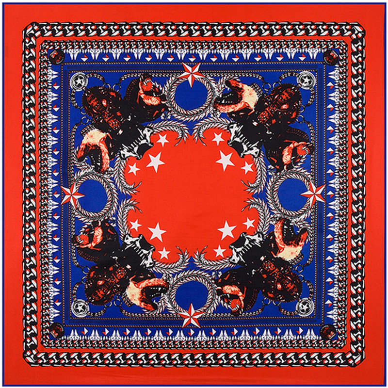 Fashion Twill Silk Women Scarf 100*100 High Quality Gift Silk Shawls Euro Big Metal Chain Pentagram Kobold Print Square Scarves