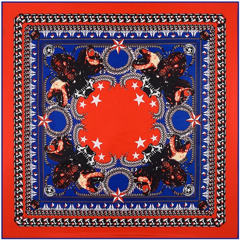 Módní keprová hedvábná dámská šála 100 * 100 vysoce kvalitních dárkových hedvábných šálů Euro velký kovový řetízek Pentagram Kobold tisk čtvercových šátků