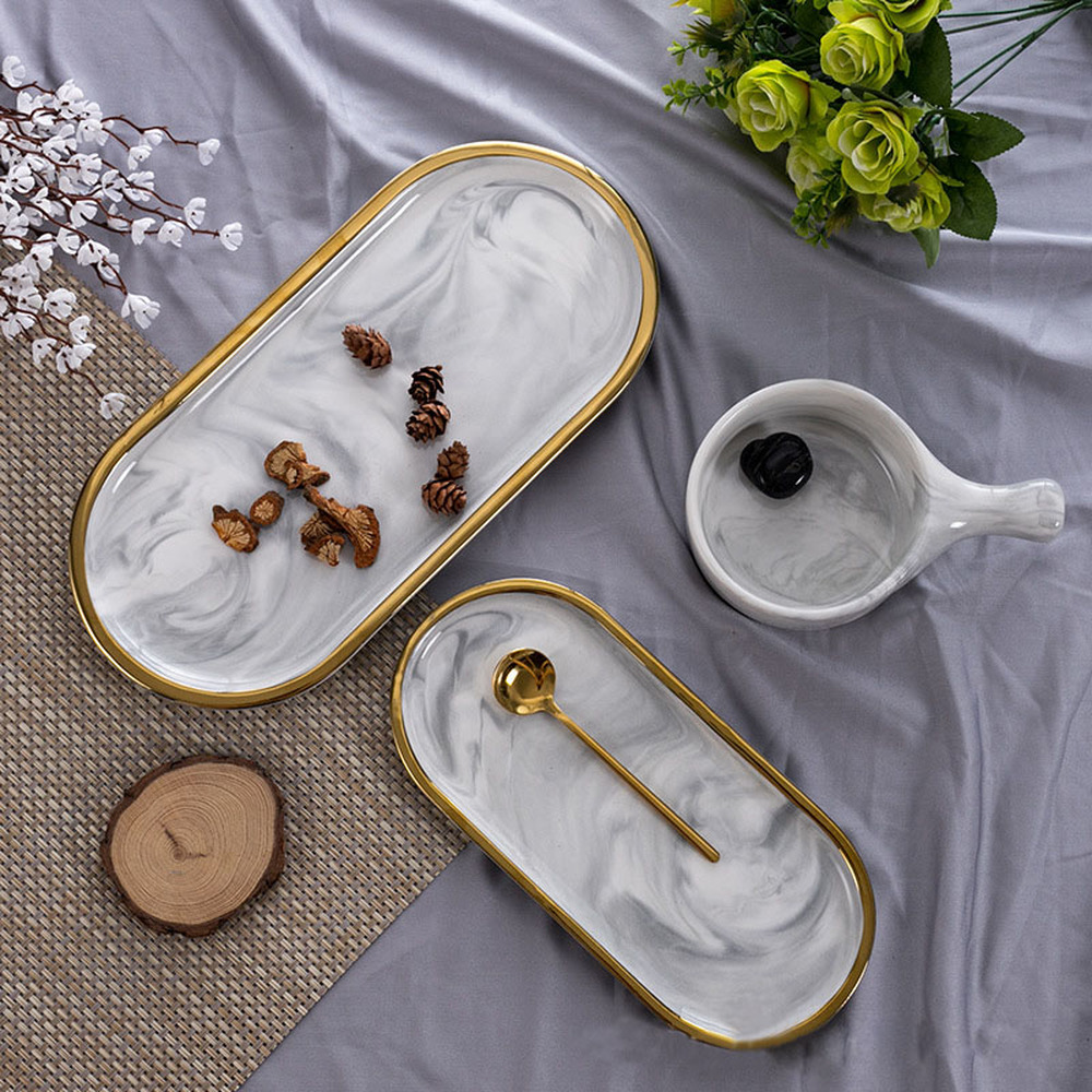 Nordic Style Gold-plated Oval Plate Creative Ceramic Plate Marbled Western Dish Set Dish Snack Plate Cake Storage Tray OrganizerNordic Style Gold-plated Oval Plate Creative Ceramic Plate Marbled Western Dish Set Dish Snack Plate Cake Storage Tray Organizer