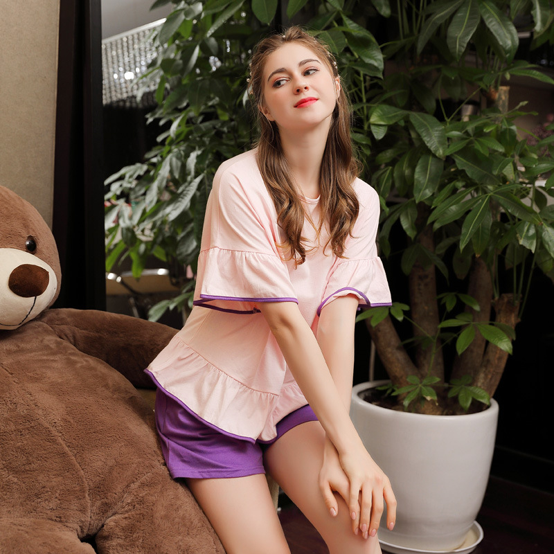 Summer Cotton Short-sleeve Shorts Korean   Pajamas   Round Neck Solid   Pajama     Sets   Women Sleepwear Loungewear Pyjamas Home Pijama