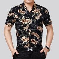 Yüksek kaliteli yaz hawaii gömlek mens moda çiçek baskı erkek kısa kollu pamuk gömlekler