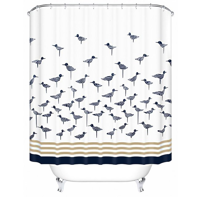 180CM Lucky Blue Bird Pattern Fabric Shower Curtains Liners Non ...