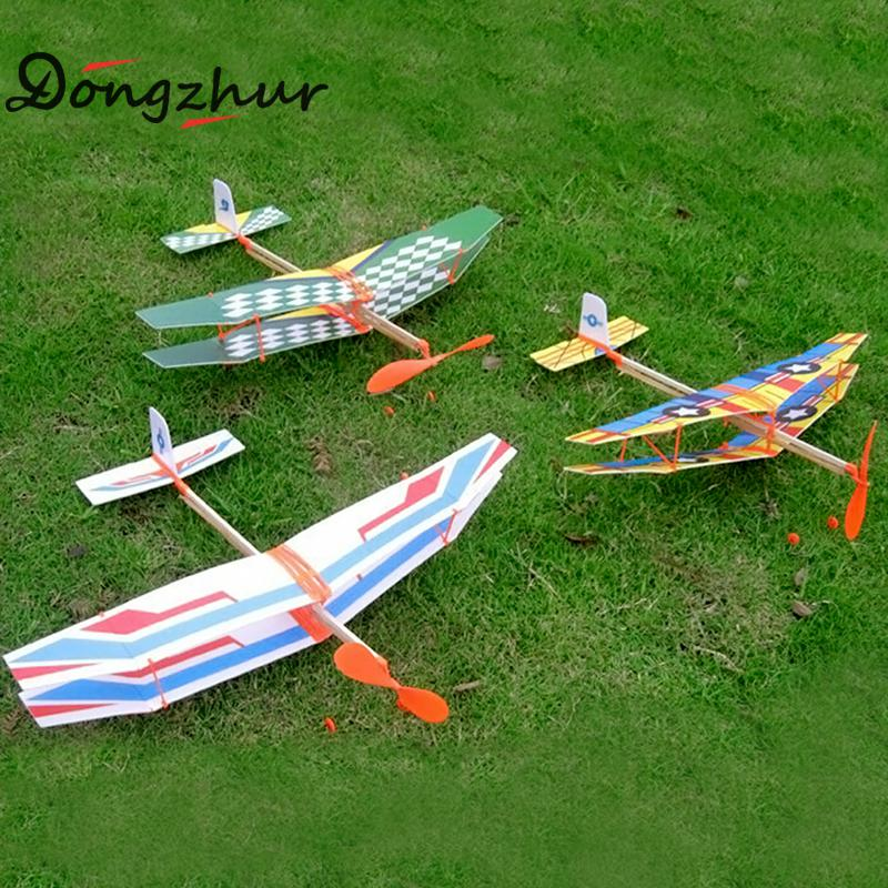 DIY Assembled Helicopter Model Rubber Band Power Wings Gliding Aircraft Children Puzzle Aircraft Model Stitching Toys WJ1032 1 400 jinair 777 200er hogan korea kim aircraft model