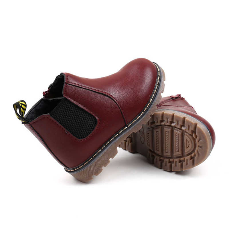 New Baby Girls Martin Boots Baby Boys Winter Boots Kids Fashion Boots With Fur Children Autumn Winter Leather Shoes
