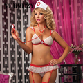 Hot 2016 Ladies Sexy Lingerie hot Sheer naughty nurse uniform sexy underwear Red Cross bra+t-pants erotic lingerie 3006
