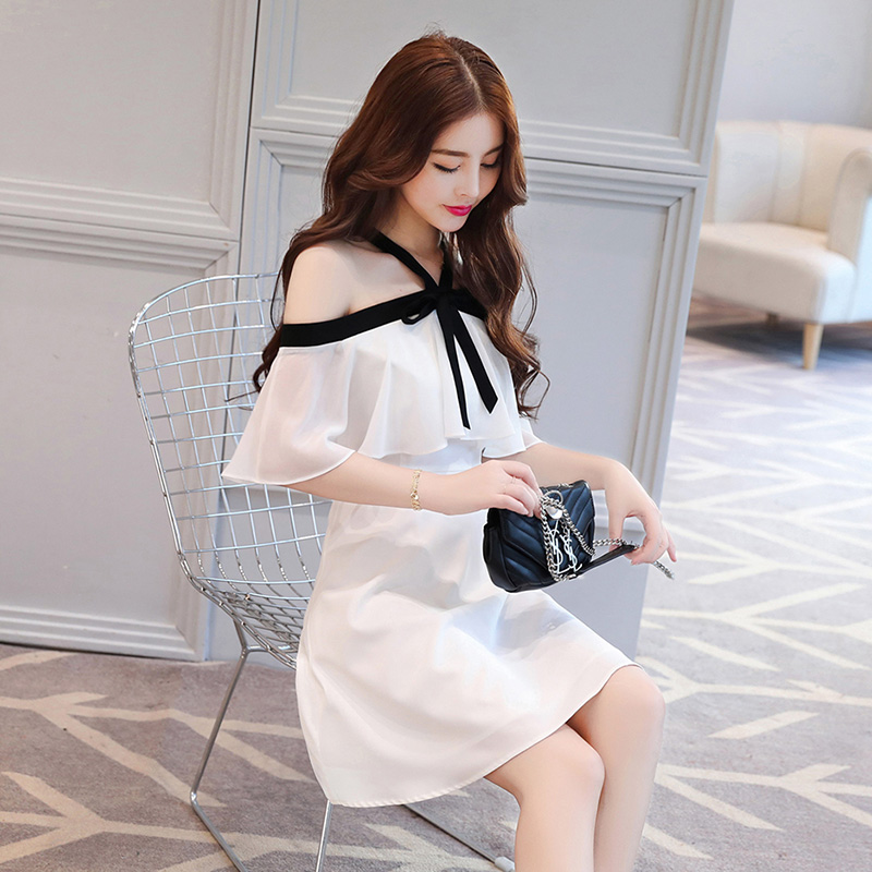 Debowa vestido blanco de gasa para mujer 2018 nuevos vestidos casuales de verano de manga corta Bodycon mujeres vestido hermoso A line vestido de escuela-in Vestidos from Ropa de mujer    2