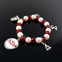 19aa20ac8 Delta Sigma Theta Sorority DST Greek White Pearl Red crystal cutom DIY charm  elastic Bracelet Jewelry