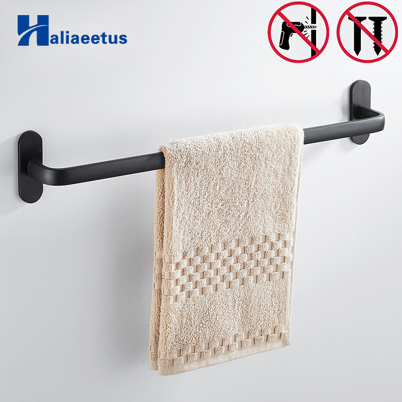 Nail free Space Aluminium Black Towel Bar Hanger Single Towel Bar Towel Holder Never Rust Bathroom Accessories lengthened thickening bathroom towel bar single lever rack free nail
