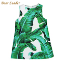 Bear Leader Girls Dress 2016 Brand Princess Dresses Kids Clothes Sleeveless Banana Leaf Pattern Print Design for Girls Clothes