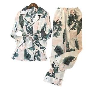 Image 2 - Świeży letni nadruk moda damska piżama Rayon Sexy Pijama spodnie z długim rękawem dwa papierowe garnitury