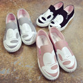 Spring Autumn New Low Shoes Silp on Flat Round Toe Canvas Cartoon Casual Cute Women Shoes