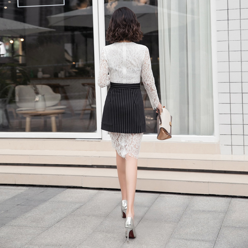 c709d8886 Moda coreano Vestido de Renda Roupas Femininas Outono Inverno Lace ...