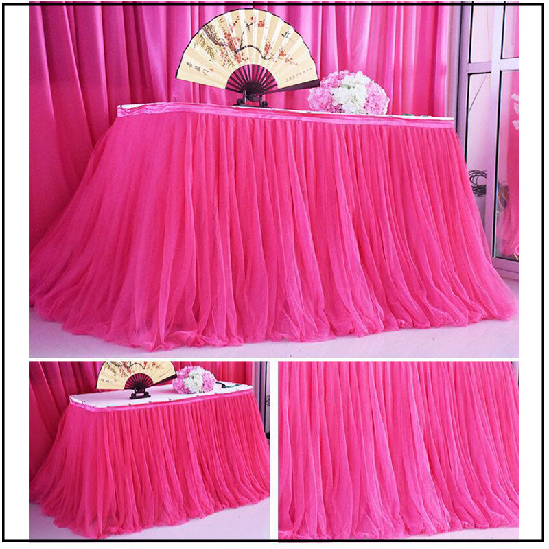 100x80cm Wedding Party Tutu Tulle Table Skirt Tableware Cloth Baby Shower Party Home Decor Table Skirting Birthday Party