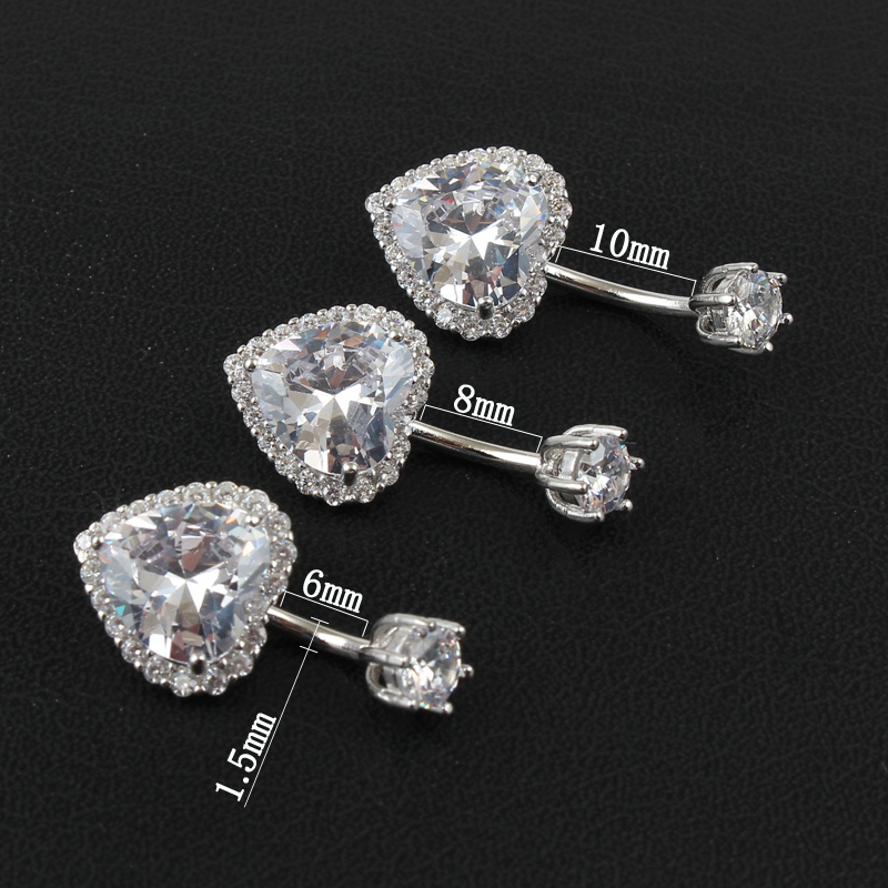 Real 925 sterling silver belly button ring women fine jewelry heart body piercing jewelry S925 6 8 10 mm navel bar zircon stones-1