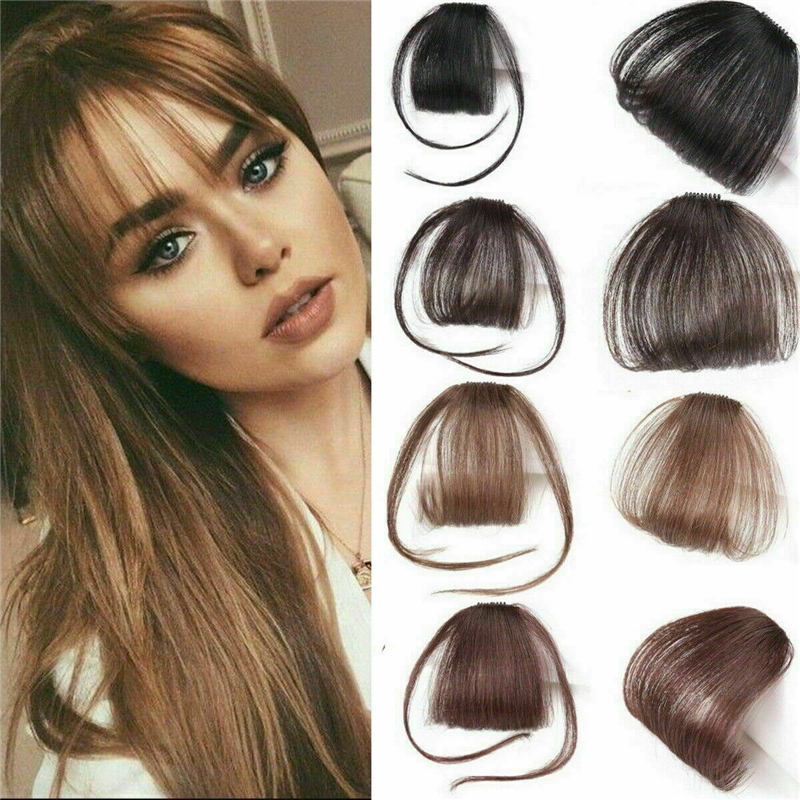 1Pc Clip On Clip In Front Bang For Girls Thin Neat Air Bangs Remy Human  Fringe Hair Extension Mini Women Bangs Front Hairpiece