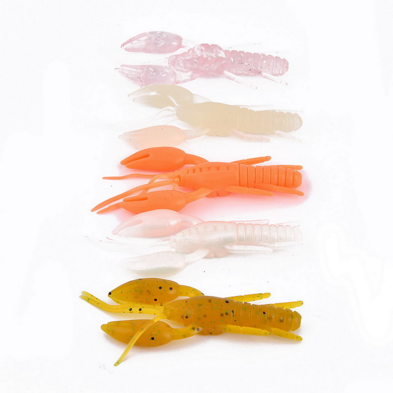 60pcs 8cm/6g Crawfish Soft Bait Fishing Lure Life-like Crayfish Jig Head Back Jump leurre souples