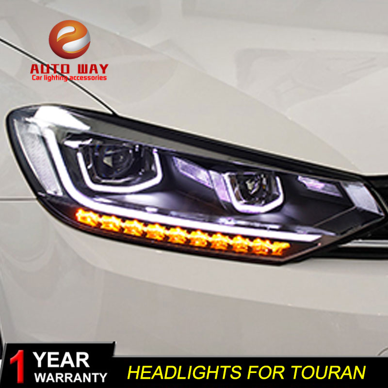 Car Styling Head Lamp case for VW Volkswagen Touran Headlights Touran 2016 2017 LED Headlight DRL Lens Double Beam Bi-Xenon HID hireno headlamp for volkswagen tiguan 2017 headlight headlight assembly led drl angel lens double beam hid xenon 2pcs