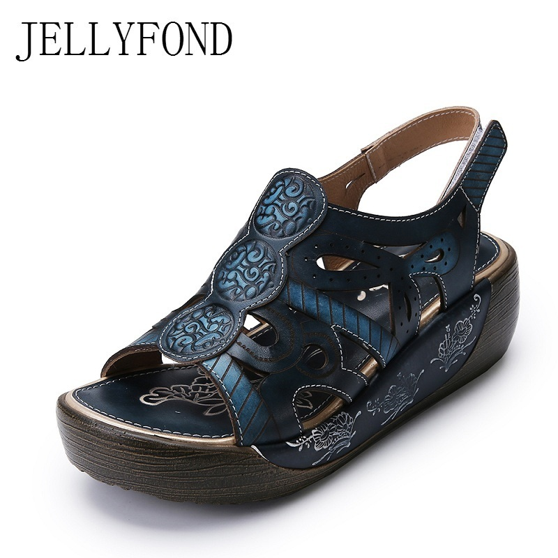 Ethnic Print Genuine Leather Women Gladiator Sandals Open Toe Platform Wedge Sandals Handmade Summer Shoes Woman Big Size candy color genuine leather vintage style women casual sandals 2017 designer open toe platform wedge handmade summer shoes