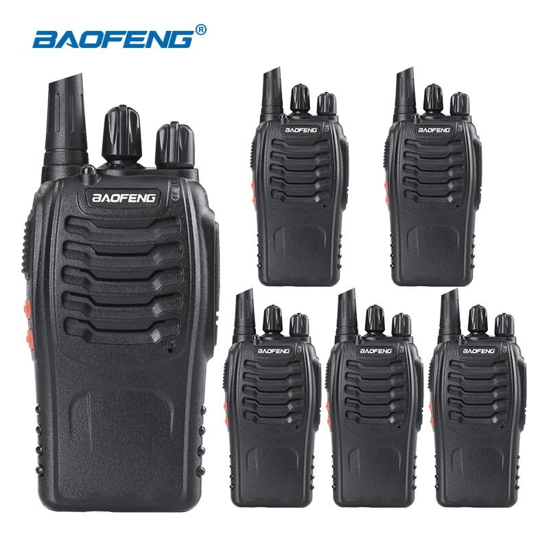 (6pcs) Baofeng 888s Walkie Talkie With Headset Long Range 2 Way Radio Rechargeable Ham Radio Communicator HF Transceiver