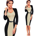 Europe 2016 New vestidos Victoria Women Pencil Dresses Package Hip Fashion Splice Office Dress Slim Big size 3/4 Sleeve Overalls