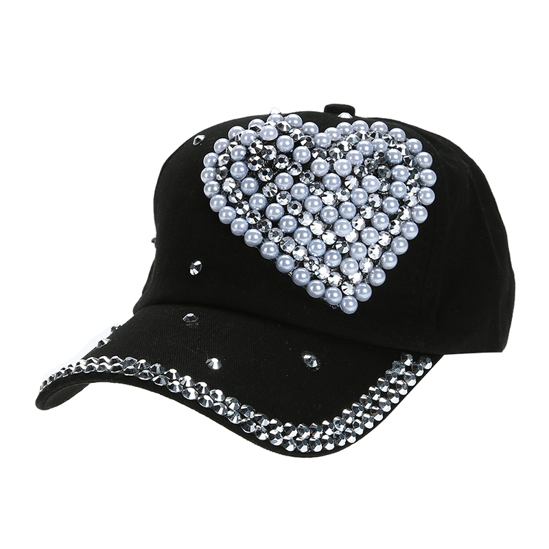 Rhinestone Baseball Cap Lady Children Girl Women Heart Shape Bling Bling  Diamond Hat Gorras Snapback Hip Hop hat Casquette-in Baseball Caps from  Apparel ... eef39f94d0ae