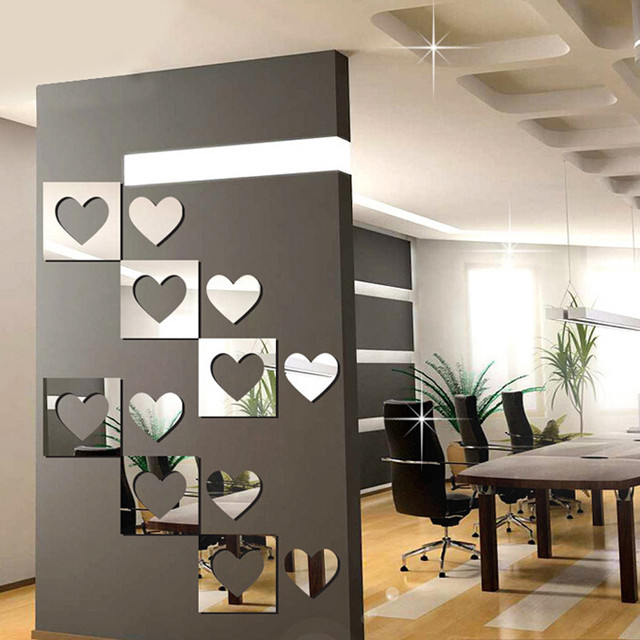6pcs 3d Mirror Wall Stickers Hexagon Removable Wall Sticker Decal