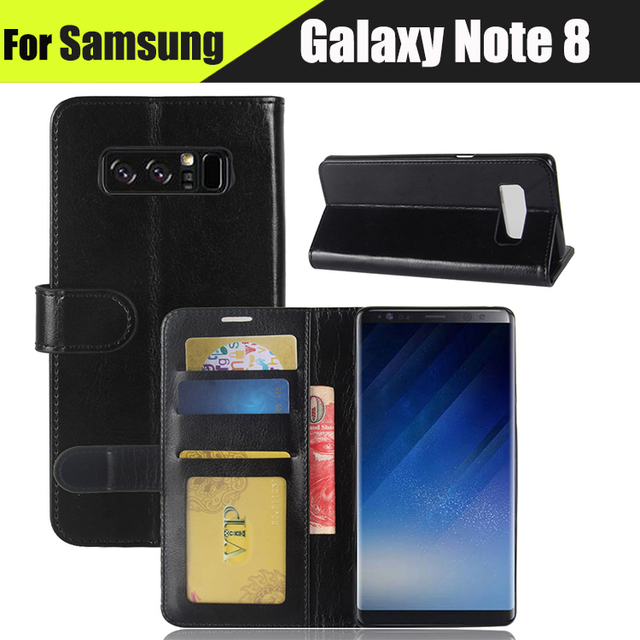 EiiMoo Case Cover For Samsung Galaxy Note 8 Case SM-N950F Wallet Genuine Leather Flip Cover For Samsung Galaxy Note 8 Phone Case