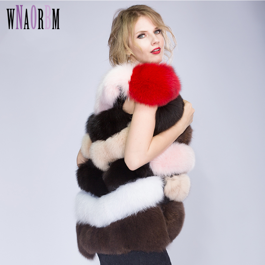 2019Colorful Hot New Natural Fox Fur Long Vest Real Fox Fur Gilet Winter High Quality Women Fox Girl's Vest Real Fur Vest