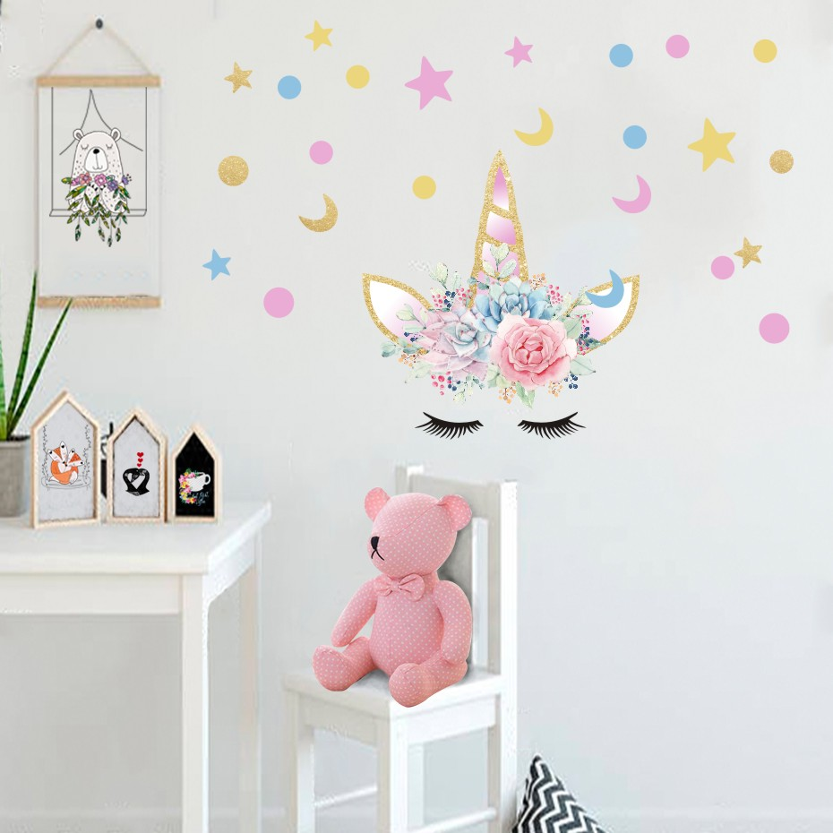 Diy Colorful Rooms: Diy Magic Unicorn Colorful Wall Sticker For Kids Room