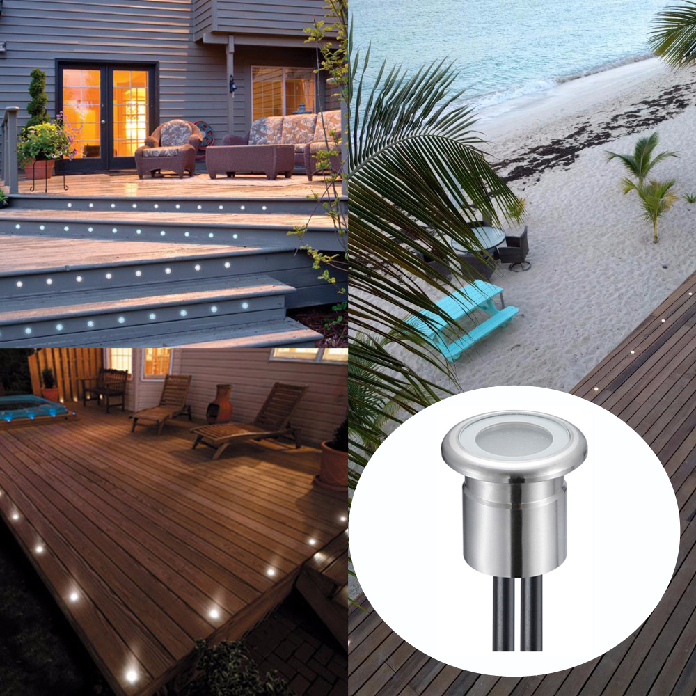 ***DHL free***30pcs/Lots 0.8W Round Stainless Steel DC12V IP67 Recessed Led Deck Lighting Outdoor Lamp(Light+Driver)