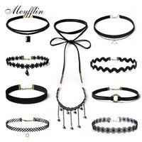 Meyfflin 10 PCS/set Black Lace Necklace Choker Set Necklaces for Women Velvet Choker Collar Maxi Jewelry Gothic Tattoo Collier