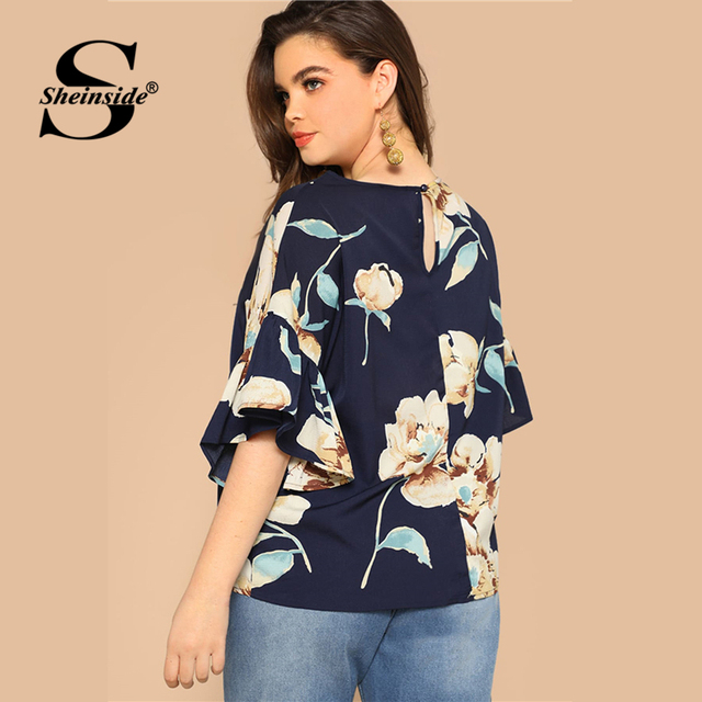 Sheinside Plus Size Floral Print Flounce Sleeve Blouse Women 2019 Summer Casual Half Sleeve Blouses Ladies Keyhole Back Top 1
