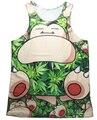 Weed Leaf Snorlax 3d Tank Top Print Jersey de moda Personajes de Dibujos Animados de estilo de Moda de Verano Chaleco camisetas Mujeres de la Camisa de los hombres