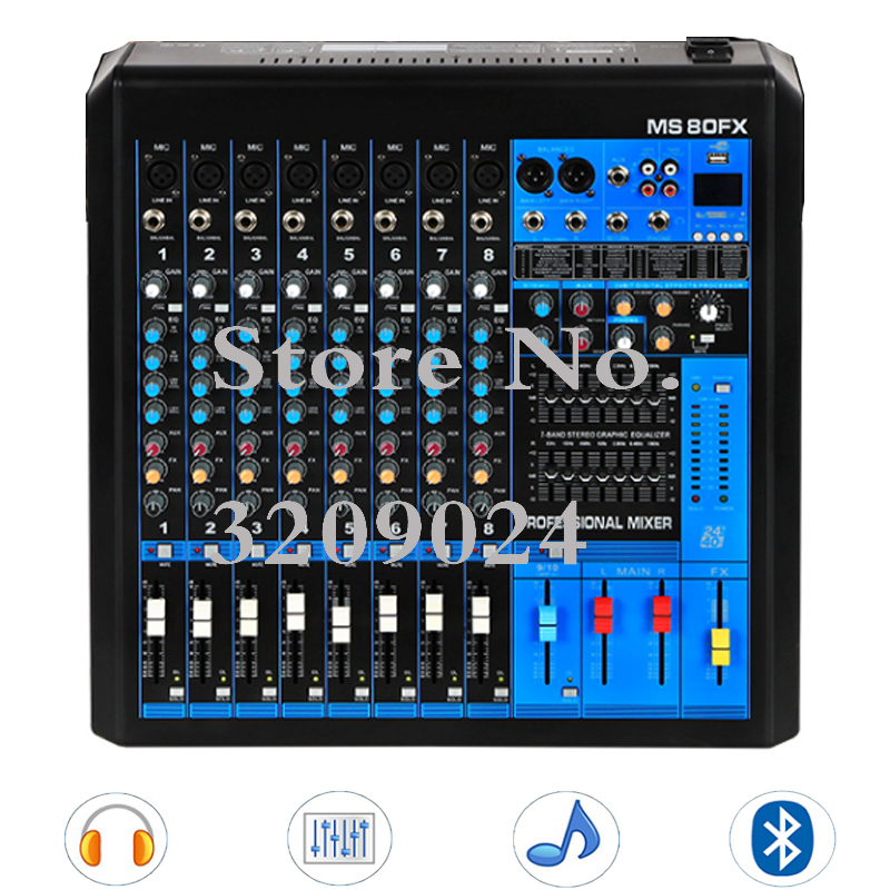8 Channels Mixer Digital Effects Double Equalizer Bluetooth MP3 DJ Music Sound USB Equipment Mixing Console