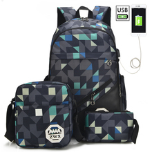 3Pcs/Set Mens Backpacks USB Charging For Teenager Shoulder School Bags Girls Men Women 2018 Mochila Travel