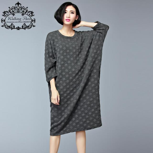 Plus Size Women's Dresses Big Size Knitted Cotton Dress O-Neck Solid Autumn Casual Batwing Sleeve Lady Loose Fashion Tops&Tees